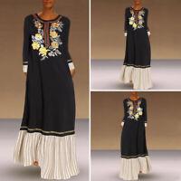 Women Long Sleeve Abaya Jilbab Muslim Maxi Dress Casual Kaftan Loose Dress UK