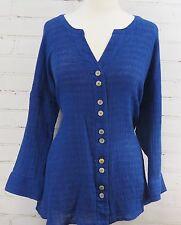 Soft Surrounding Crinkled Gauze Shirt Royal Blue Tunic Top  Large 14/16 Linen