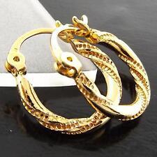 AN996 GENUINE REAL 18K YELLOW G/F GOLD GIRLS LADIES TWIST DESIGN HOOP EARRINGS