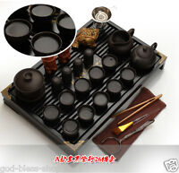 Chinese kung fu tea set purple clay tea pot gaiwan mini cup solid wood tea tray