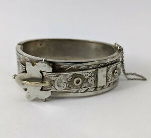 Antique Silver Tone Buckle Bangle