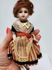 "Antique Bisque UNIS France 301 Dollhouse 6"" Girl Doll Sleep Eyes All Original"