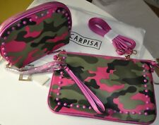 NWT CARPISA Italian Shoulder Clutch Camouflage Purse with Coordinate Makeup Bag