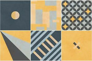 Sirface PACK OF 24 - Modern Geometric Tile Decals - Tile Stickers Set for Kit...