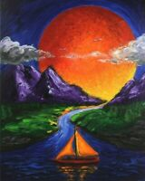 Sun Mountain Sunset Contemporary Art Original Painting by Juan Mira COA 16 x 20