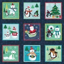 FROSTY SNOWMAN SANTA CHRISTMAS TREES SQUARES FABRIC PANEL