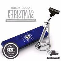 Stainless Steel Gillette Mach 3 Razor & Stand Men's Wet Shaving Gift Kit for Him