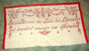 altes von Hand besticktes Leinentuch / Spruchtuch / Wandspruch Omas-Küche 1920