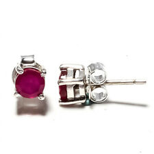 """FACITED IMMITATION RUBY GEMSTONE 925 STERLING SILVER JEWELRY STUDS EARRING 0.2"""""""