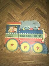 Vintage Chug-Chug Express Pull-Toy Book 1940's Abbott Publishing Co. Litho U.S.A