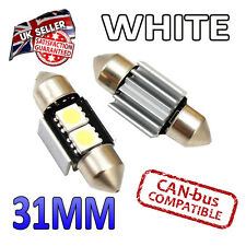 2 x 31mm Festoon White Canbus LED Number Plate Interior 2 SMD Bulbs 269 Bright
