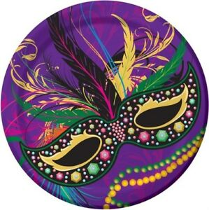 Mardi Gras Masks 9 Inch Paper Plates 8 Pack Mardi Gras Tableware Party Supplies