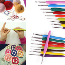 New 9Pcs Colourful Aluminium Crochet Hooks Knitting Needles Set Soft Handles