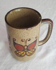 Vintage Retro 70s Stoneware Ceramic Coffee Mug Brown Butterfly