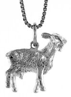 925, Sterling Silver 16mm Tall Chinese Zodiac Pendant Charm for Year of the Goat