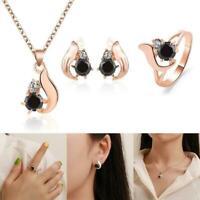 4 pcs Set Obsidian Ring Halskette Bolzen Ohrring Schmuck-Set Gold Rose Ster S5Z9