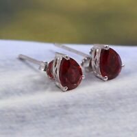 Natural Garnet Earrings Stud 925 Sterling Silver Dainty Bohemian Gift for Her
