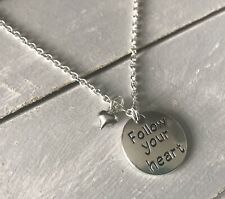 Follow Your Heart Disc & Tiny Heart Pendant Silver Necklace New in Gift Bag