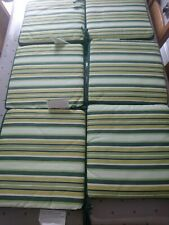 Set Of 6 Green Tie On Garden Seat Cushions