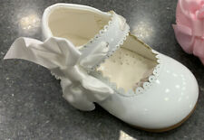 GIRLS WHITE PATENT BOW SHOES SPANISH STYLE MARY JANE FLOWER GIRL SHOES