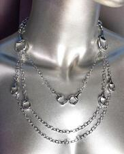 CHIC & FABULOUS Designer 3 Strands Silver Horsebit Links Chains Layered Necklace