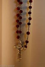 red beads prayer rope catholic 100 knots big metal cross box четки 100молитв