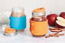 Jarware 82663 Silicone Mason Jar Honeycomb Protector Sleeves Blue & Orange