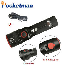 15000LM T6 LED Flashlight USB Rechargeable Torch Zoomable Emergency Light