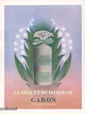 Publicité Parfum Muguet thrush Caron perfume   vintage  ad  1954 -9I