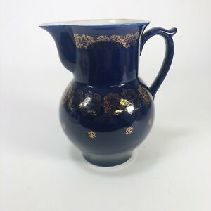 """Vintage Russian blue glass pitcher with gold floral accents  7.5"""" x 7"""""""