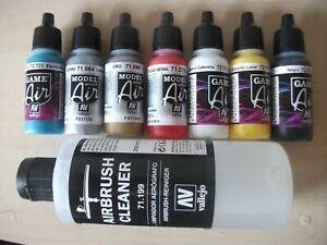 Nail Art Airbrush Paint set 5 primary & 2 metallic colours plus  200ml cleaner