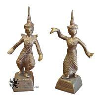2 Vintage Dancing Hindu Collectible Brass Figures Asian Man & Woman