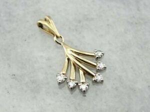 0.60 Ct Round Cut White Moissanite Wedding Flower Only Pendant 14K Yellow Gold
