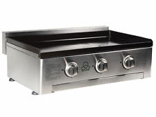 Gas Plancha BBQ - 3 Burner BBQ Grill - Stainless Steel & Enameled Cast Plate