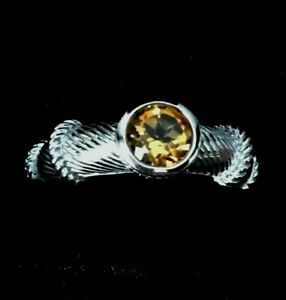 Lovely Judith Ripka Sterling Silver Citrine Cable Trim  Ring Size 5.75