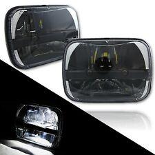 "7x6"" Black Chrome LED Bulb Light Clear Lens Sealed High / Low Beam Headlamp Pair"