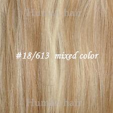 Hair Extensions Clip in Full Set/ Highlights 100% Human Hair Black Brown Blonde