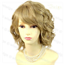 Wiwigs Lovely Golden Blonde Short Curly Summer Style Skin Top Ladies Wig