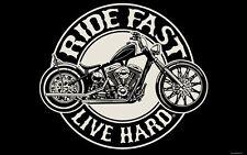RIDE FAST LIVE HARD  MOTORCYCLE FLAG (3' X 5') BIKER FLAG