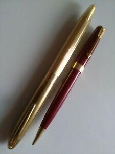 Vintage Sheaffer snorkel fountain pen rolled gold 14ct nib . Free Parker pencil