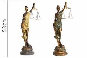 Justitia Skulptur auf Sockel Figur der Gerechtigkeit Justizia im Antik Stil NEU!