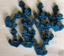 12x sugar edible BLUE ANCHORS sea themed NAUTICAL cake decorations