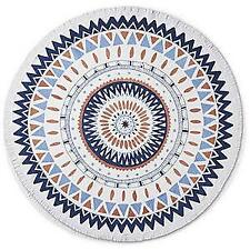 "NEW FRONTGATE BEACH BLANKET 59"" ROUND BATIK FRINGED COTTON WASHABLE BEACH TOWEL"