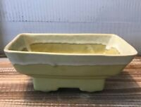 "Vintage Decorative Cookson Pottery Planter Yellow Green 7.5"" Long Mid century"