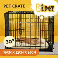 "i.Pet 30"" Dog Cage Pet Crate Puppy Cat Foldable Metal Kennel Portable 3 Doors M"