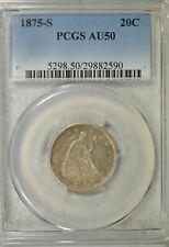 1875 S 20 cent, PCGS AU50