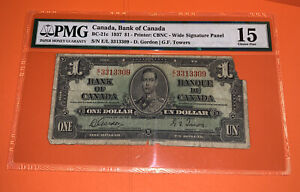PMG Canada, Bank of Canada 1937 $1 Banknote Wide Sign. Panel Choice Fine 15