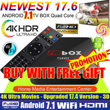 4K PRO KODI 17.6 Quad Core Android 7.1 Smart TV Box WIFI Media Sports Movies UK