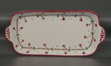 MADE IN ITALY LA TERRINE SERVING BREAD TRAY 10 IN X 5 IN WHITE PINK FLOWERS