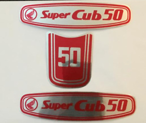 new red adhesive badges Decal Stickers set for HONDA SUPER CUB 50 badge